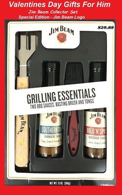 4 pcs Collector Gifts set For Him Jim Beam Grilling BBQ Tongs Brush 2 BBQ Sauce