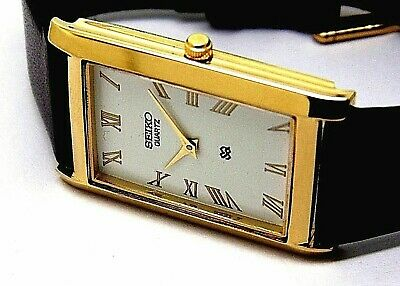 seiko quartz mens gold plated white dial japan made rectangle shape watch run