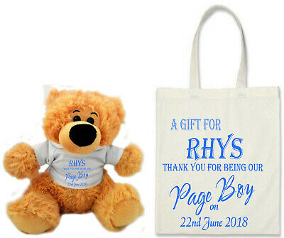 Personalise a BEAR & BAG - Wedding Favour Page Boy Flower Girl Bridesmaid GIFT