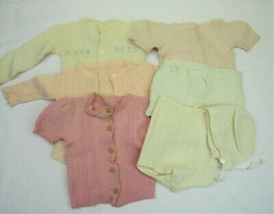 Vintage 1940s baby Sweaters diaper covers bonnet 1950s doll clothes