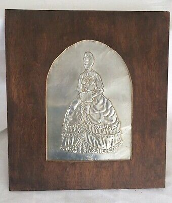 Antique Tin Punch Victorian Lady Wall Hanging Picture French Country Folk Art