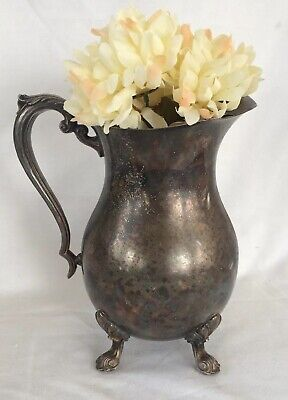 Rogers 1883 Vintage 1940's Silver Plate Decorative Water Pitcher Ice Lip 10.5""