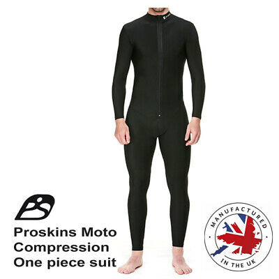 Motorcycle Proskins Moto Base layer one piece black suit 2 way zip