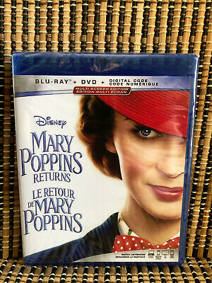 Mary Poppins Returns (2-Disc Blu-ray/DVD, 2019)Disney.Emily Blunt/Lin-Manuel Mir