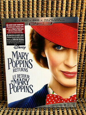 Mary Poppins Returns (2-Disc Blu-ray/DVD, 2019)+Slipcover.Disney.Emily Blunt