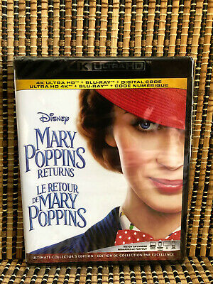 Mary Poppins Returns 4K (2-Disc Blu-ray, 2019)Disney.Emily Blunt/Lin-Manuel Mir