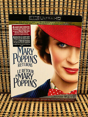 Mary Poppins Returns 4K (2-Disc Blu-ray, 2019)+Slipcover.Disney.Emily Blunt