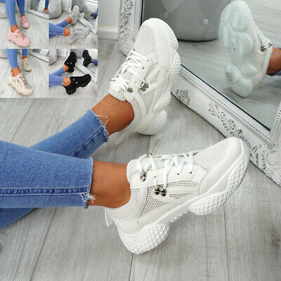 Womens Ladies Lace Up Running Trainers Fashion Sneakers Gym Shoes Size Uk