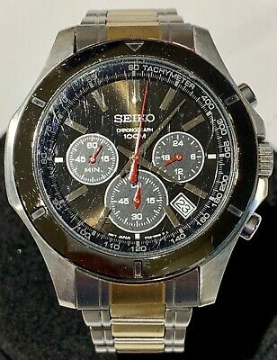b5393f4ef Men's Seiko Chronograph 100M 6T63-00G0 Silver Tone Date Watch New Battery