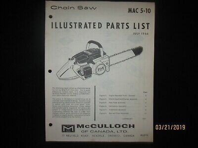 mcculloch chain saw mac 5-10 parts list book manual factory original oem  1966