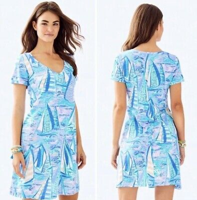 665688acea134d Lilly Pulitzer Jessica Short Sleeve Dress Light Lilac Verbana Aboat Time XS