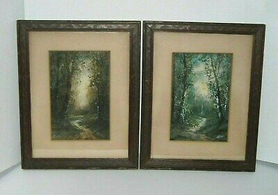 Pair Antique Scenic Watercolors in Matching Original Frames Signed Colyar