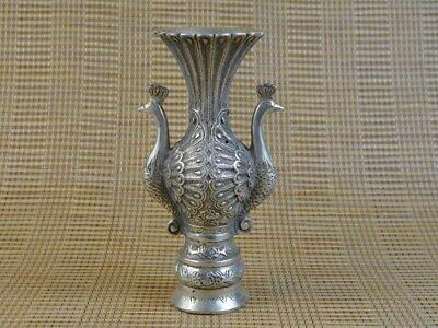 Big Vase, 2 PFAU,  Tibet Silber , sign., Statue 180mm