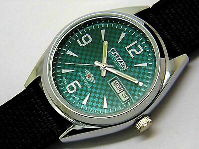 Citizen Automatic Mens Steel Green Dial Vintage Day Date Japan Wrist Watch Run
