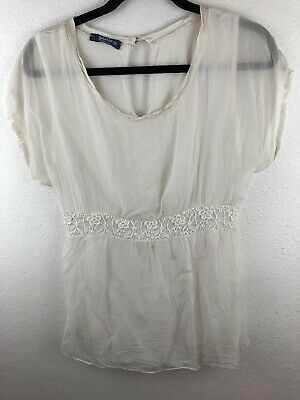 37f1aff2f6e LINA TOMEI WHITE Linen Lace Blouse Made in Italy Size Medium ...