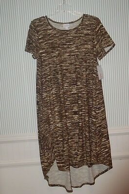 389595356609c Lularoe Carly Dress Sz S Camo Print Black Olive Green Cream Unicorn NWT