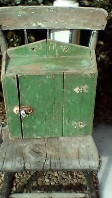 Early Primitive Wooden Hanging Cupboard Best Old Apple Green Paint