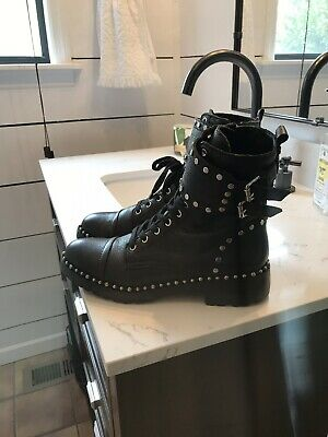 d13b6e5d4  169 size 7 Sam Edelman Jennifer Studded Boots Black Leather Womens Combat  Shoes