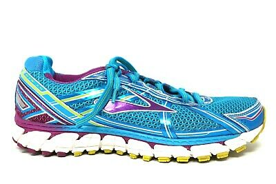 ed66c9180349a Brooks Adrenaline GTS 15 Teal Purple Lime Athletic Running Shoes Womens  Size 11