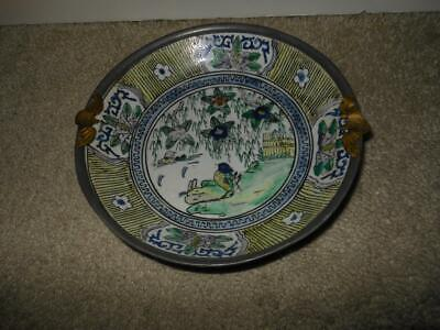 Unique Beautiful Acf Japanese Porcelain Ware Bowl Plate Enamel Brass Edge Birds