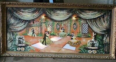 "Vintage Very large painting Ballroom 6ft 4"" wide x 3ft tall Built in lights"
