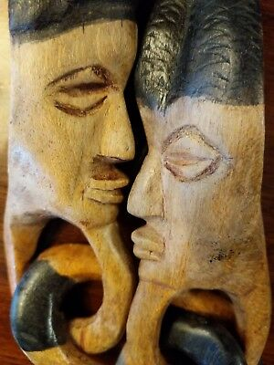 African Sculpture Wooden Fertility Couple Chained Together Twin Flame Soul Mates