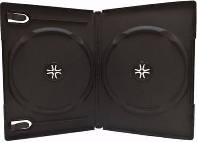 1 Standard 14 mm Double DVD Cases, Black, holds 2 Disc DVD Cases