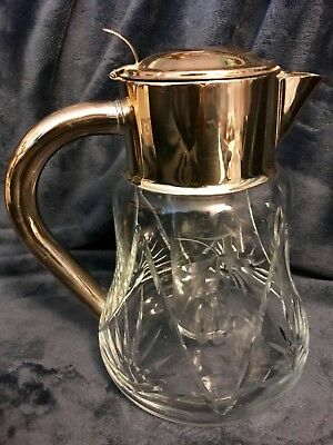 Wurttemberg Quist Cut Crystal Pitcher W/Ice Insert & Silver Plated Lid 9.5""