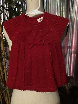 0ff36f313889 BABY CAT & JACK Infant Girl Red Sweater Dress Size 3-6 Months Sparkle Bow