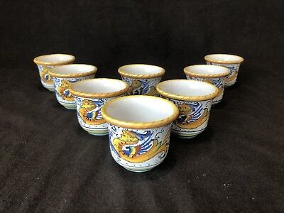 Italian Pottery Raffaellesco Demitasse Cups Deruta? Dragon Set of 8