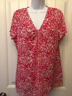 2cf94d121 LIZ CLAIBORNE Size XL Pullover Red White Dressy Lined V-Neck Blouse Cap  Sleeves