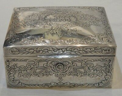 Antique Gorham Sterling Silver Etched Box Retailed by Grogan Company Pittgsburgh
