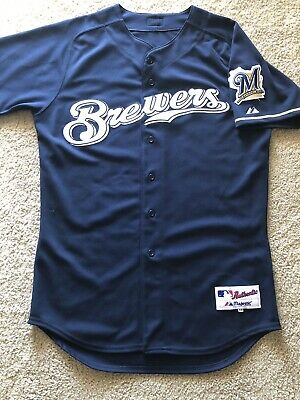 4c0cf1040 Milwaukee Brewers Authentic Majestic Mlb Jersey Size 44 Navy Road On Field