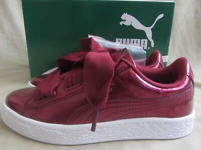 official photos d1f2b 39bc3 PUMA BASKET HEART Glam Sneakers Youth Size 3 Tibetan Red New Without Box