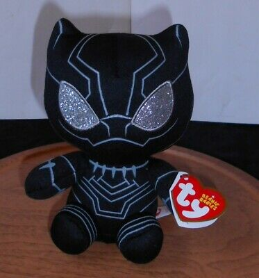 "Ty Beanie Babies, 6"" Plush Black Panther, Marvel 2018, Black W/Glitter Eyes!"