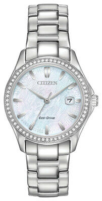 Citizen Eco-Drive Women's FE1140-86D Crystal MOP Dial Silver-Tone 30mm Watch