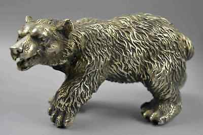 Chinese Collectale Tibet Old Miao Silver Carve P0lar Bear Home Decor Old Statue