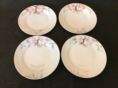 """4 Vintage Japanese Noritake Azalea Fine China 6-1/2"""" Bread and Butter Plates Red"""