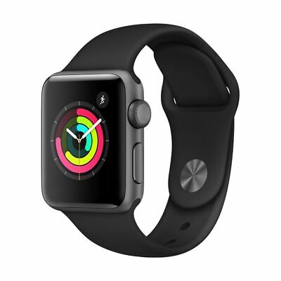 Apple Watch Series 3 38MM GPS Space Gray Aluminum Case w/Black Sport Band