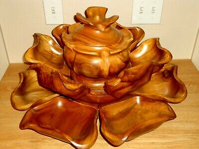 Large 15pc Teak Wood Lazy Susan Horderves Serving Centerpiece ~ Pupu Platter