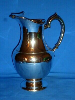 Vintage Silverplate Footed Water Pitcher w/ Ice Lip