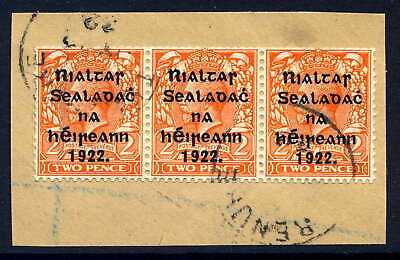 Ireland 1922 Harrison 2D Orange Coil Strip Of Three Fine Cds Used On Piece Sg 29