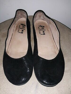 9fb368f7cc825 FS/NY French Sole Zeppa Ballet Flats Low Wedge Silver Black Leather Snake  7.5N