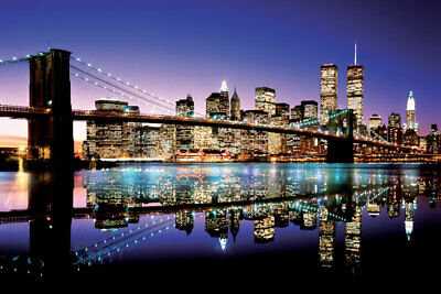 Brooklyn Bridge Nyc Skyline Twin Towers New York City 24X36 Poster Colorful Gift