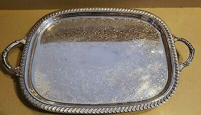 "Leonard Silverplate Footed Serving Tray w/ Handles 22 1/4"" • Vintage"