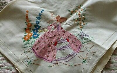 Vintage Hand Embroidered Tablecloth ~ Crinoline Lady :  Foxgloves