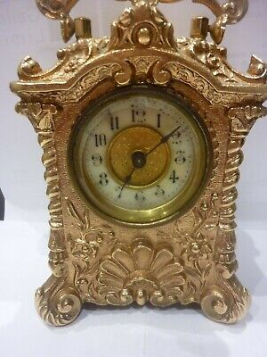 EARLY 20th CENTURY GILT BRASS BOUDOIR CLOCK, GREAT BRITAIN AND FRENCH CO