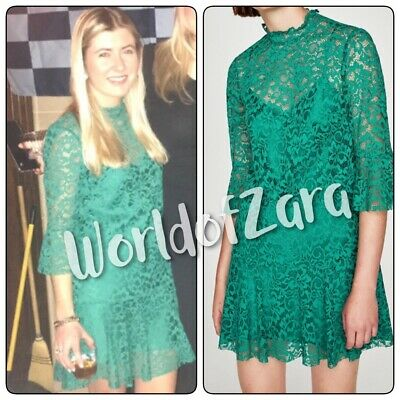 9c06d27e Zara Woman Green Lace Mini Mandarin Collar Ruffled Sleeves Dress 4437/256  Xs S M