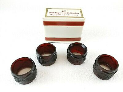 Vintage AVON 1876 CAPE COD COLLECTION RUBY RED SET 4 NAPKIN RINGS IN BOX