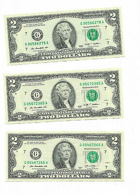 Two Dollar Bill, $2 Note (2009) Paper currency with G (Chicago printing) USED